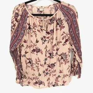 Lucky Brand Pink Tassel Tie Neck L/S Floral Blouse